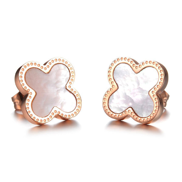 Rose Gold Clover Stud Earrings - Crystalline