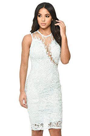 Blue Sleeveless Lace Mesh Bodycon Midi Dress