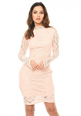Blush High Neck Long Sleeve Lace Midi Dress