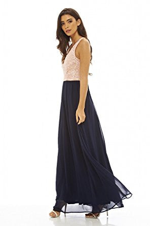Beige Navy Sleeveless Floral Lace V-Neck Pleated Maxi Dress