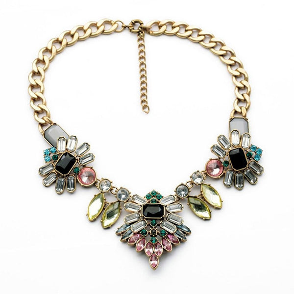 Rhinestone Crystal Statement Fashion Necklace - Crystalline