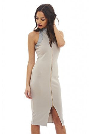 Grey Sleeveless High Neck Zip Front Bodycon Dress