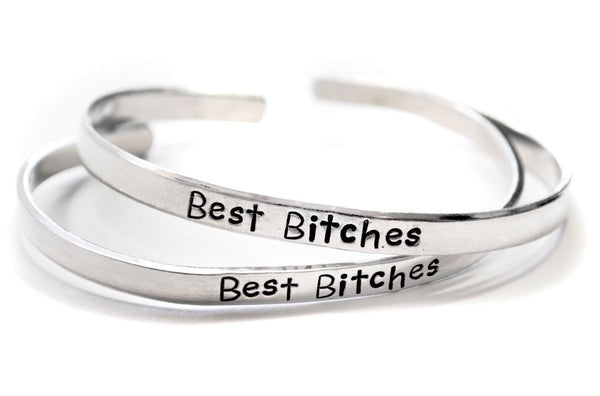 Best Bitches - Hand Stamped Aluminum Friendship Bracelet Pair - Crystalline