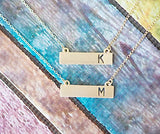 Personalized Initial Gold Bar Necklace - Crystalline