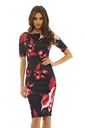 Black 3/4 Sleeve Red Floral Print Bodycon Midi Dress