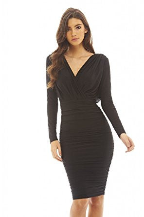 31b76f08f1d1a Black V-Front Wrap Long Sleeve Slinky Midi Dress – Crystalline