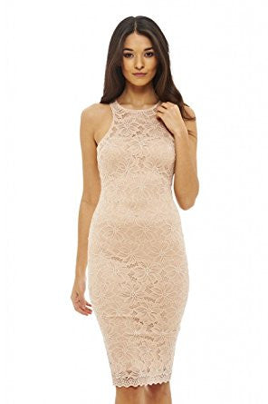 Nude Sleeveless Racer Back Full Lace Bodycon Dress