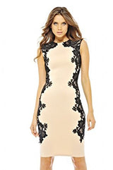 Beige Sleeveless Crochet Side Black Lace Midi Dress