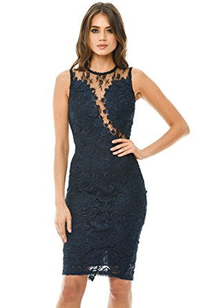 Navy Sleeveless Lace Mesh Bodycon Midi Dress