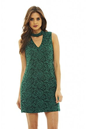Green Choker Neck Lace A-Line Dress