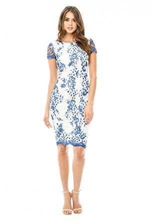 Blue Short Sleeve Lace Printed Midi Dress