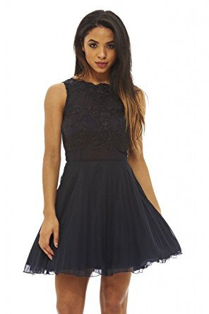 Navy Round Neck Crochet Lace Sleeveless Skater Pleated Dress