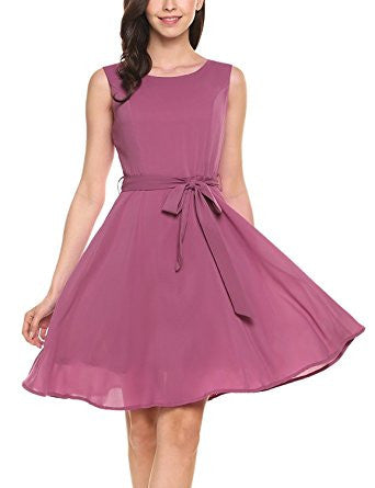 Pink Purple Sleeveless Self-Tie Chiffon Pleated Dress
