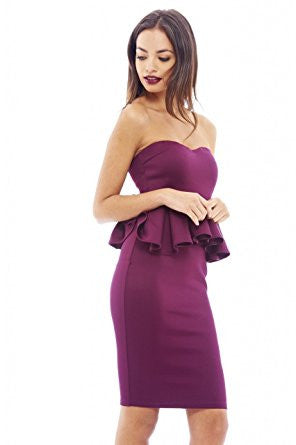 Plum Bandeau Top Peplum Hem Midi Dress