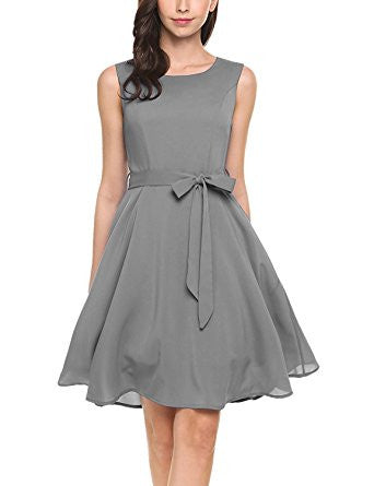*Gray Sleeveless Self-Tie Chiffon Pleated Dress