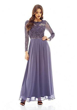 Grey Round Neck Long Sleeve Lace Maxi Dress
