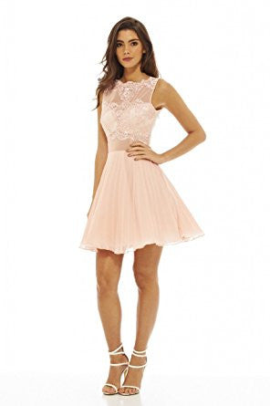 Nude Round Neck Crochet Lace Sleeveless Skater Pleated Dress