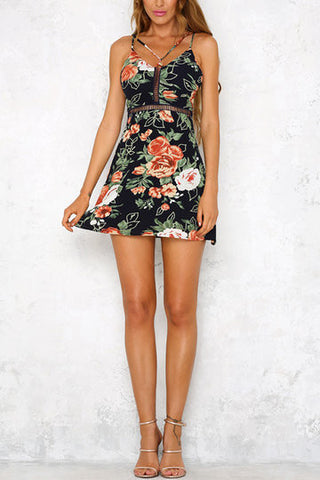 Black Floral Print Hollow Detail Front Cross String Mini Dress