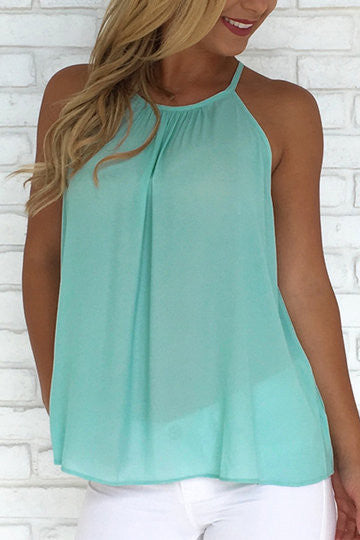Mint Green Halter Frill Trim Cut-Out Buttons Back Blouse
