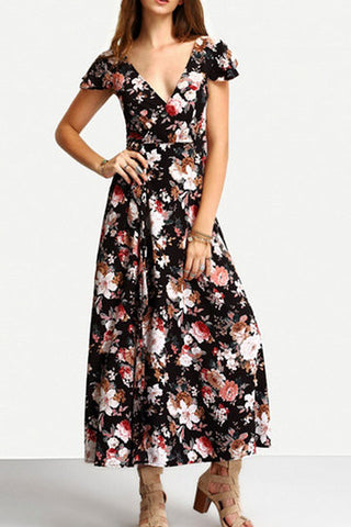 Black Floral Print Wrap V-Neck Self-Tie Lace Up Back Design Maxi Dress