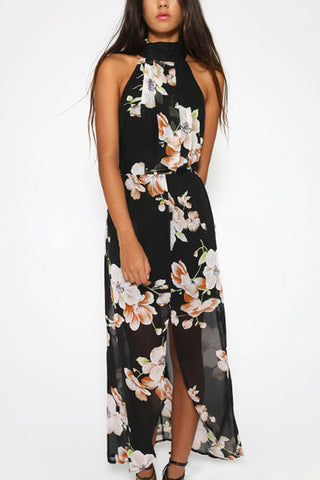 Black Floral Print Halter Front Split Maxi Dress