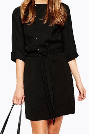 Black Button Front Drawstring Self-Tie Long Sleeve Mini Dress