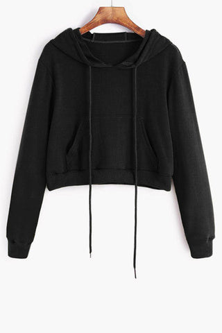 Black Basic Front Pocket Long Sleeve Hoodie Top