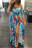 Blue Floral Print Off Shoulder Half Sleeve M-Split Dress