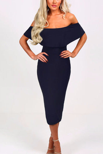 Navy Layered Off Shoulder Midi Dress