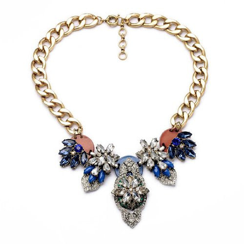 Blue Rhinestone Crystal Statement Fashion Necklace - Crystalline