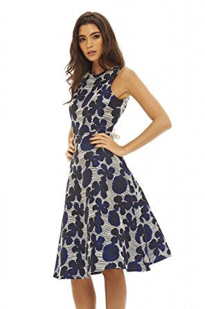 Navy Round Neck Floral Print Skater Midi Dress