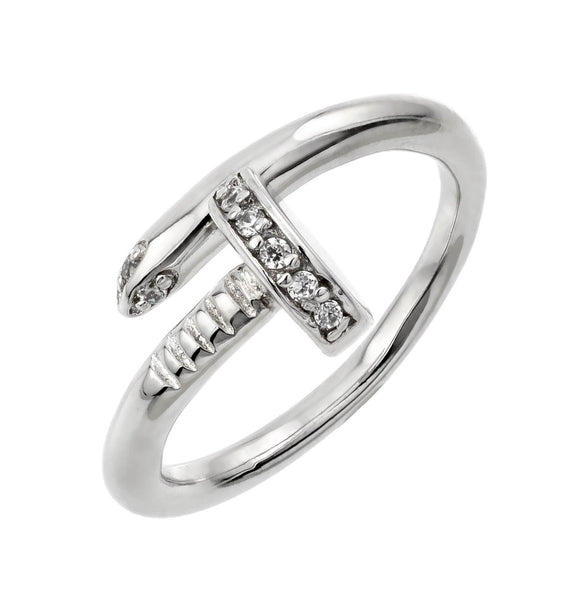 Silver Nail Ring With Cz Accents - Crystalline
