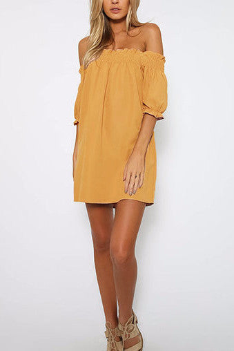 5fd20caf179d Yellow Off Shoulder Lantern Half Sleeve Mini Dress – Crystalline