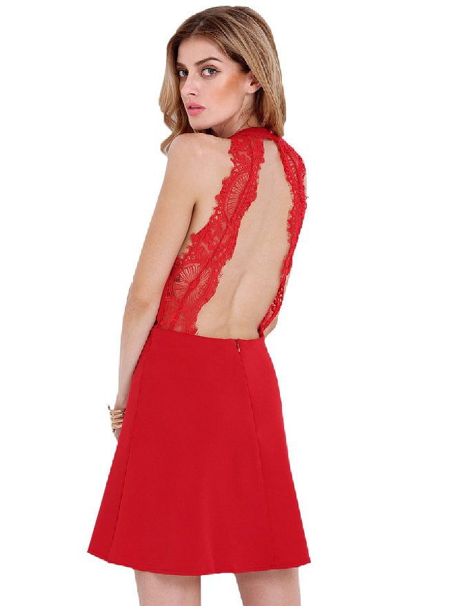 Red Lace Backless Halter Dress for Homecoming Wedding Party - Crystalline