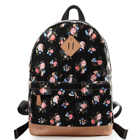 Black Fashion Casual Preppy Style Backpack - Crystalline