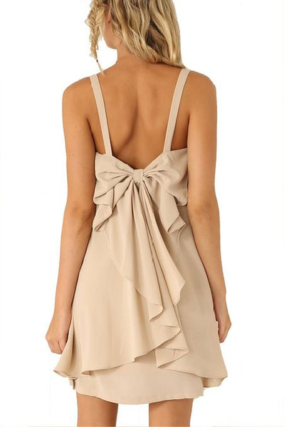 Women's Apricot Strap Bow Ruffle Dress - Crystalline