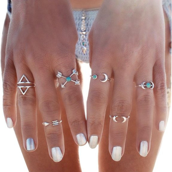 Fashion Vintage Turkish Arrow Moon Turquoise Joint Knuckle Nail Midi Ring Set - Crystalline