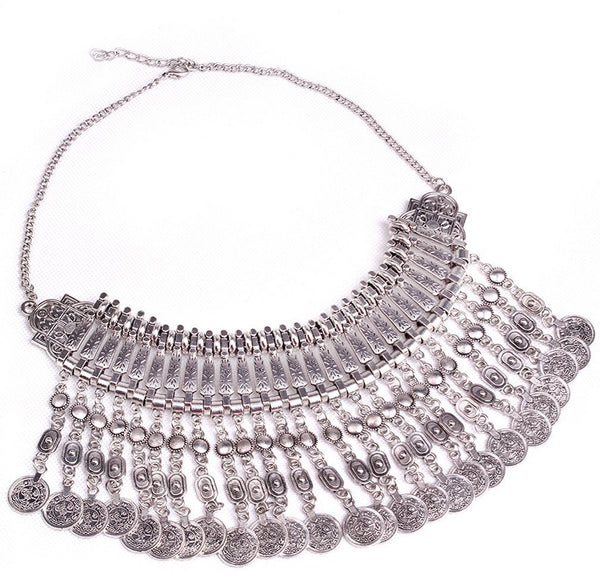 "Hippie Boho Necklace ""Ethnic Chic long"" Oriental silver coin - Crystalline"