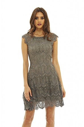 Grey Capped Sleeve Crocheted Lace Midi Dress