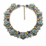 Fantastic Faux Crystal Statement Necklace Rhinestone Chunky Bib Collar Gold Tone Turquoise Mint Green - Crystalline