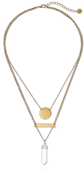 Geo Crystal Triple-Layer Pendant Necklace - Crystalline