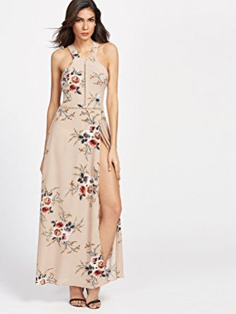 Khaki Halter Neck Floral Print Side Slit Maxi Dress