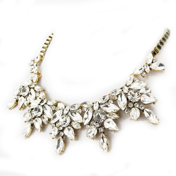 Bling Rhinestone Crystal Statement Fashion Necklace - Crystalline