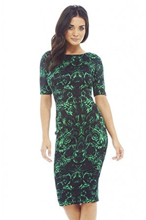 Green 3/4 Sleeve Vintage Print Bodycon Midi Dress