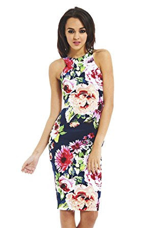 Blue Sleeveless Floral Racer Back Bodycon Midi Dress