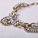 Floral Rhinestone Collar Necklace With Metal - Crystalline