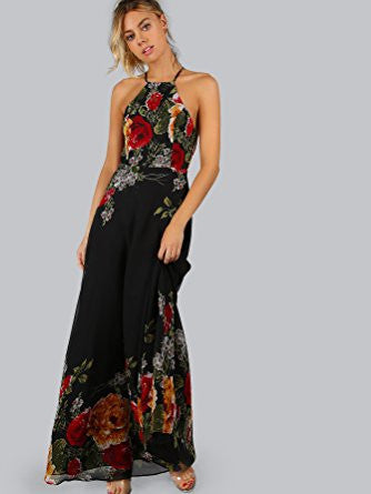 Black Halter Neck Floral Print Back Zip Maxi Dress