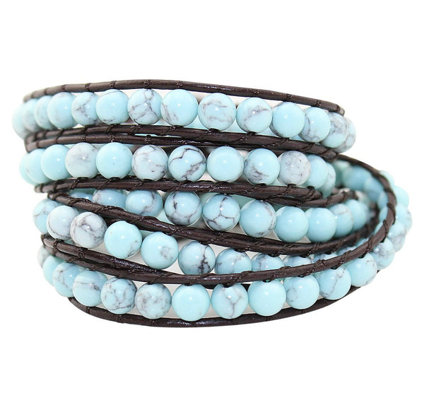 Jewelry Light Turquoise Natural Stone Beads Leather 5 Wraps Bracelet - Crystalline