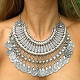 "Boho Necklace ""Ethnic Chic long"" Oriental silver coin - Crystalline"