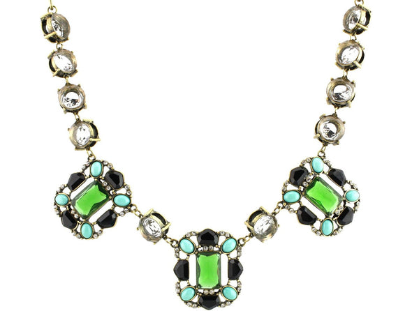 3 Stones Bib Statement Necklace - Green - Crystalline